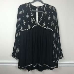 Free People Black and White Embroidered Tunic